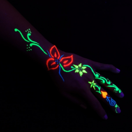 Hand mit Glow in the dark