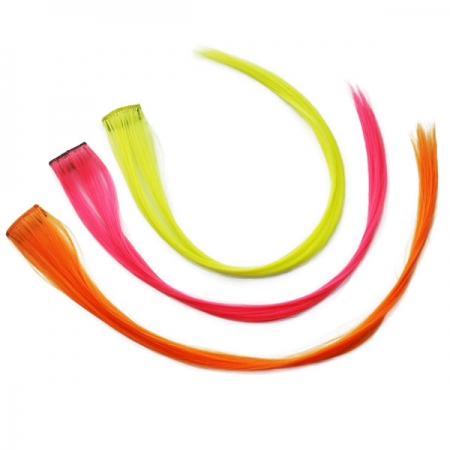 UV Neon-Haar-Extensions-Set 3er